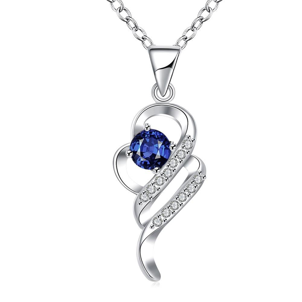 Vienna Jewelry Mock Sapphire Spiral Emblem Drop Necklace