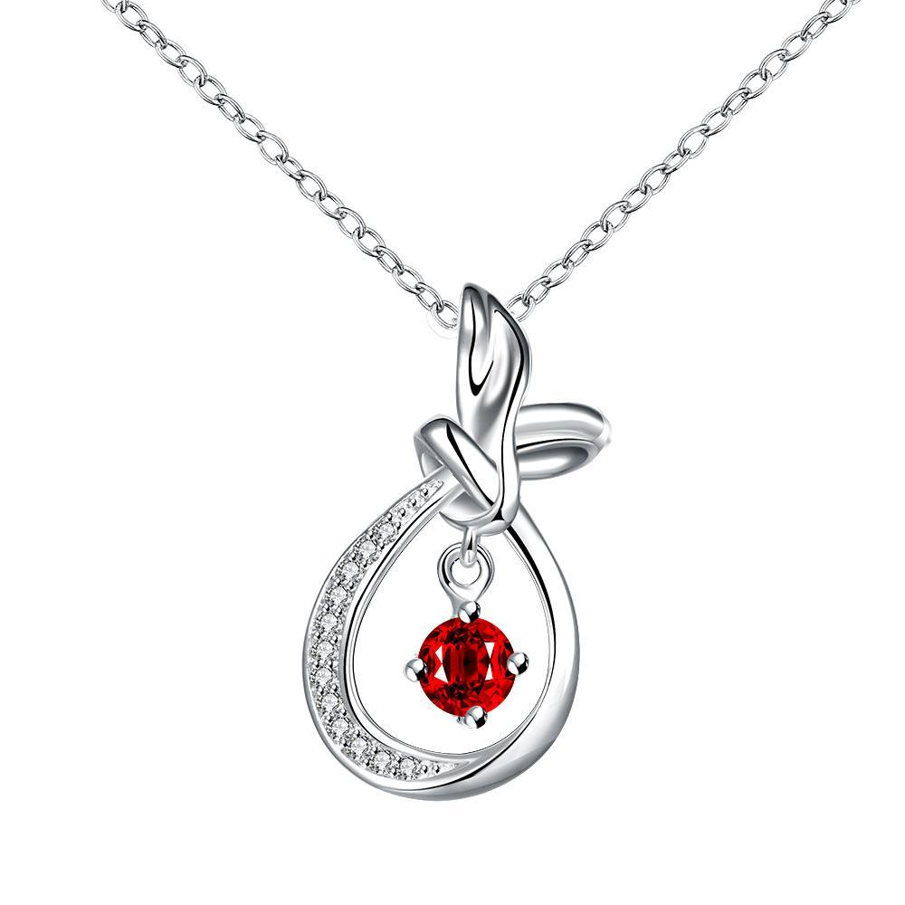 Vienna Jewelry Curved Abstract Dangling Ruby Drop Necklace