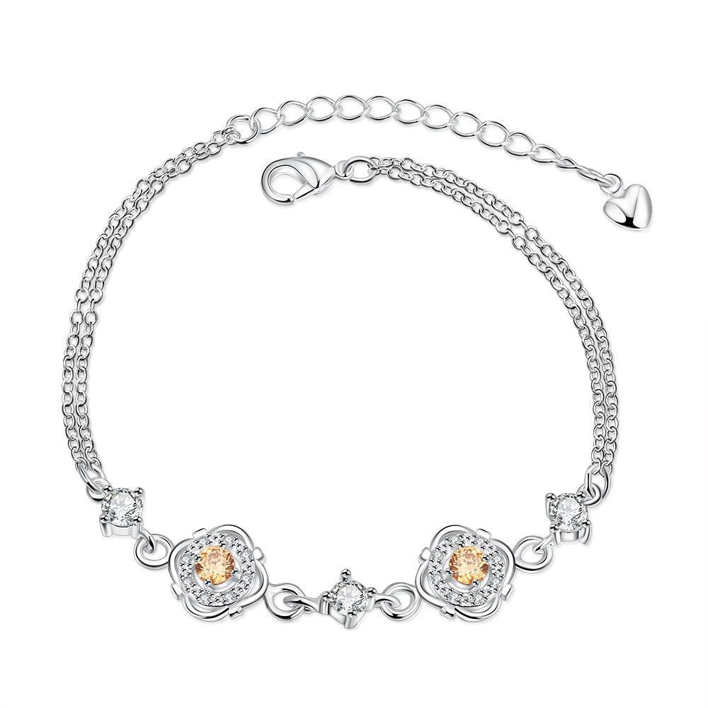 Vienna Jewelry Orange Citrine Jewels Covering Emblem Petite Anklet