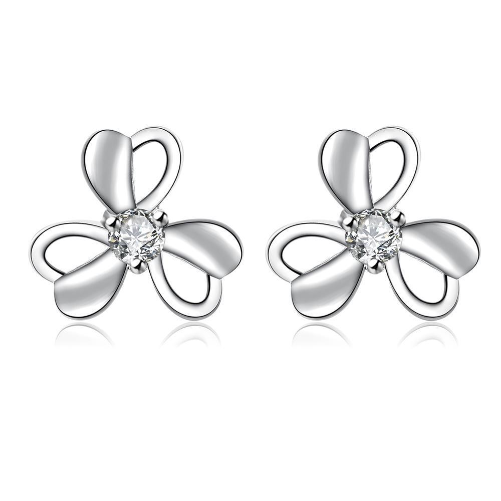 Vienna Jewelry Hollow Trio-Clover Petal Stud Earrings
