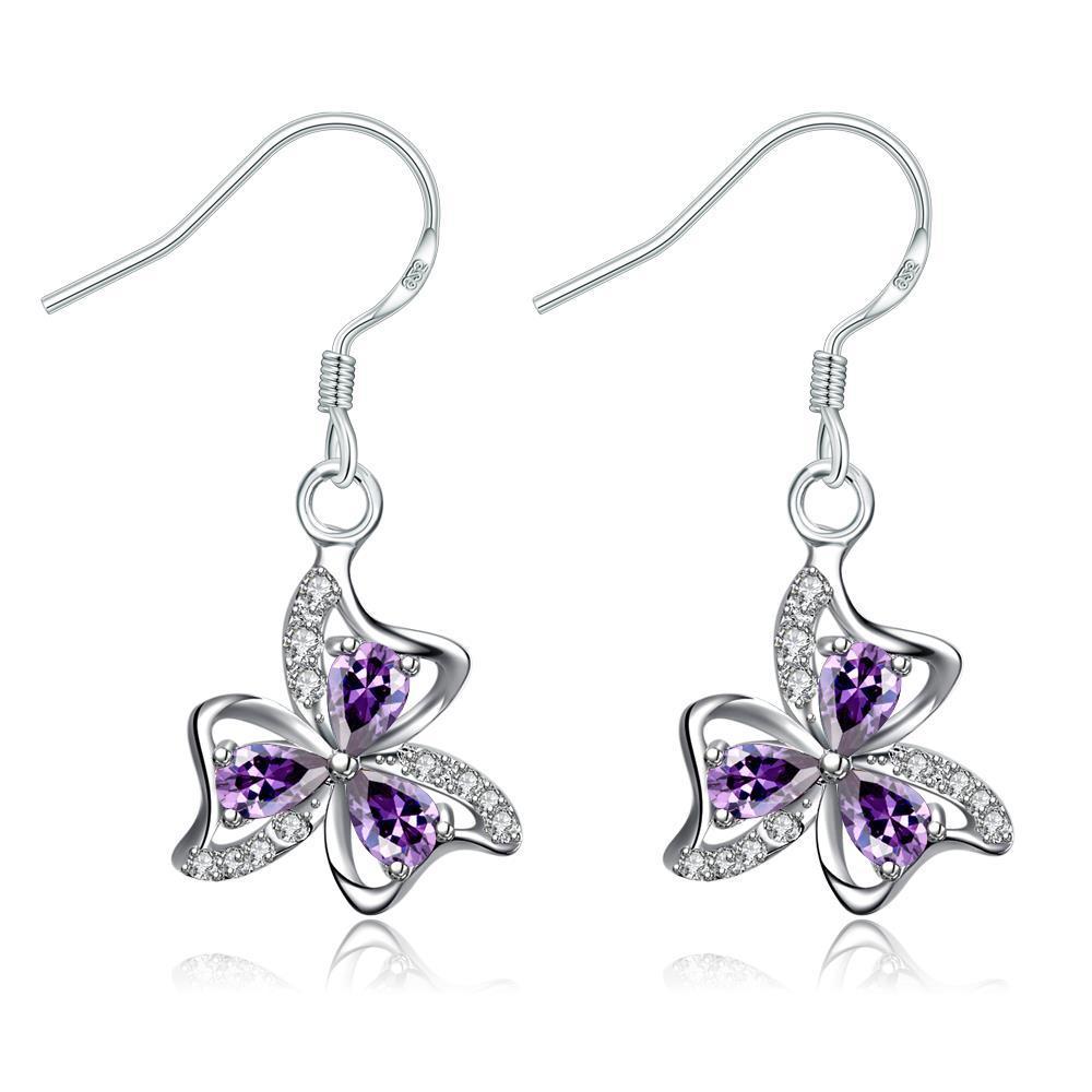 Vienna Jewelry Purple Citrine Trio-Floral Petals Drop Earrings
