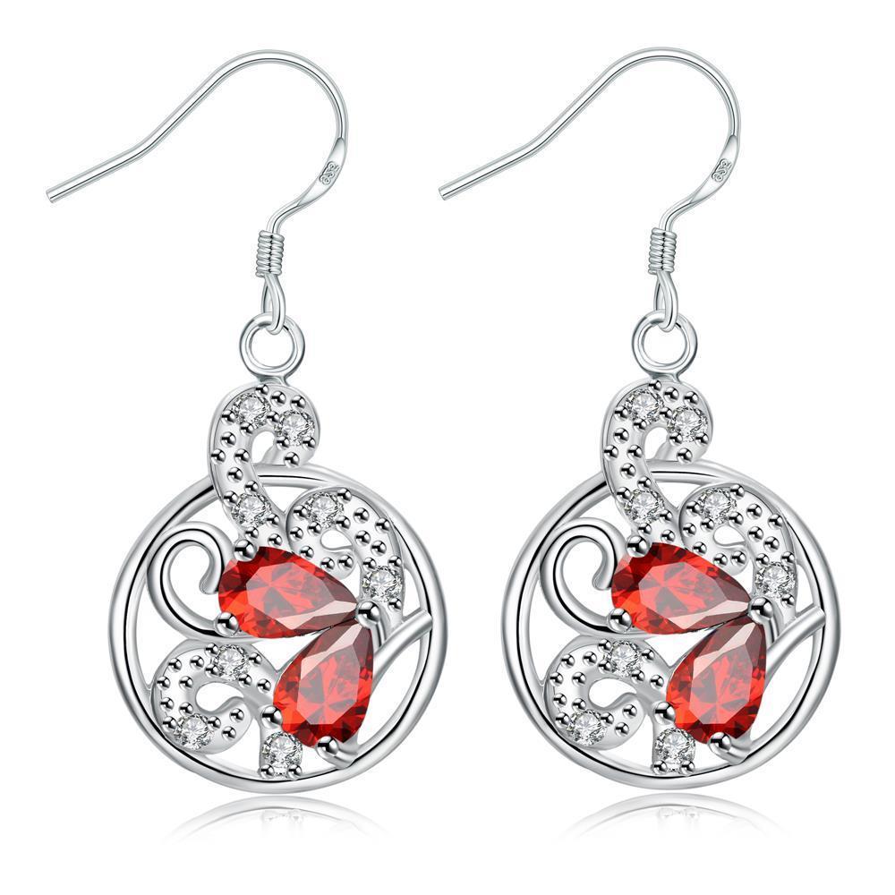 Vienna Jewelry Modern Spiral Ruby Red Gem Drop Earrings