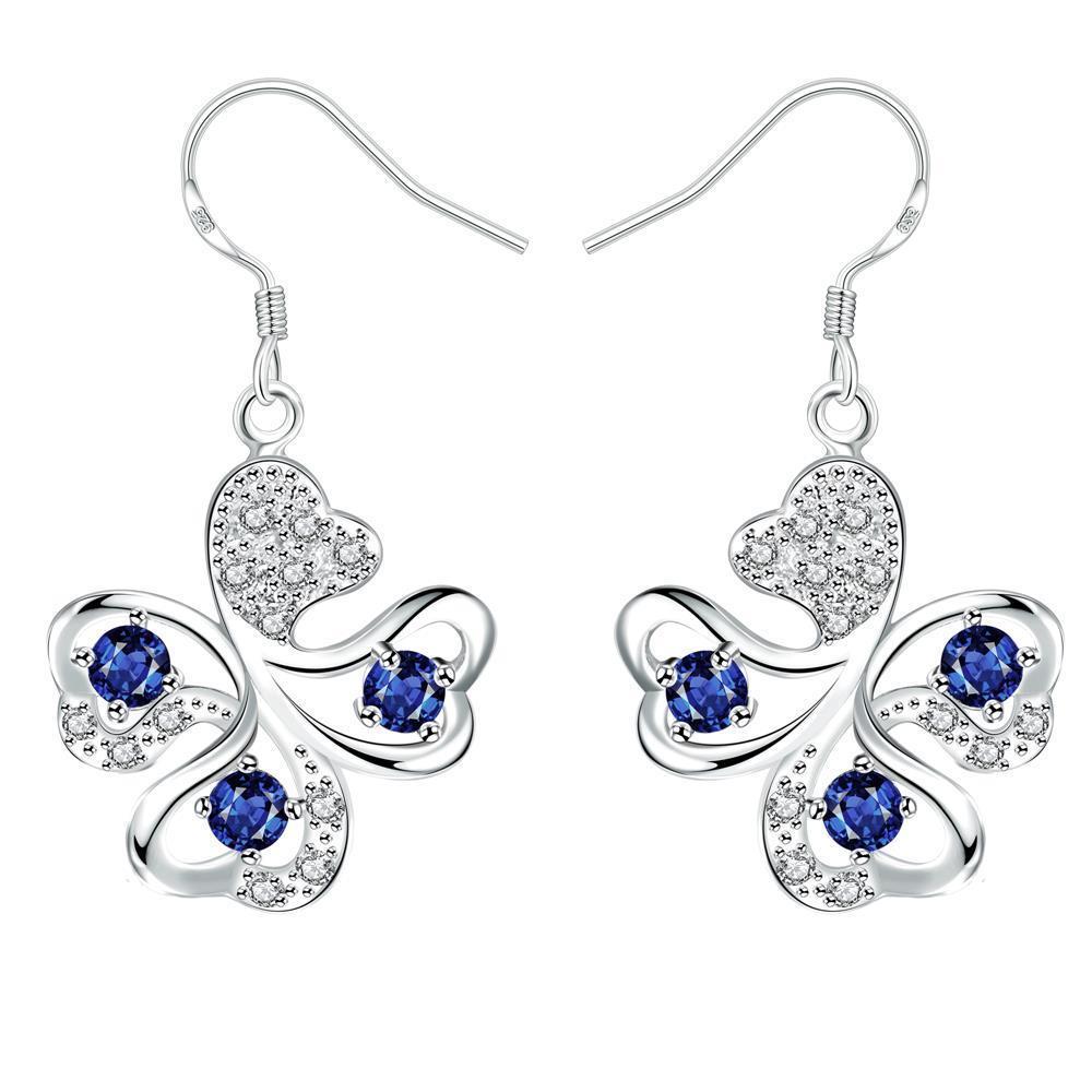 Vienna Jewelry Mock Sapphire Clover Shaped Drop Earrings