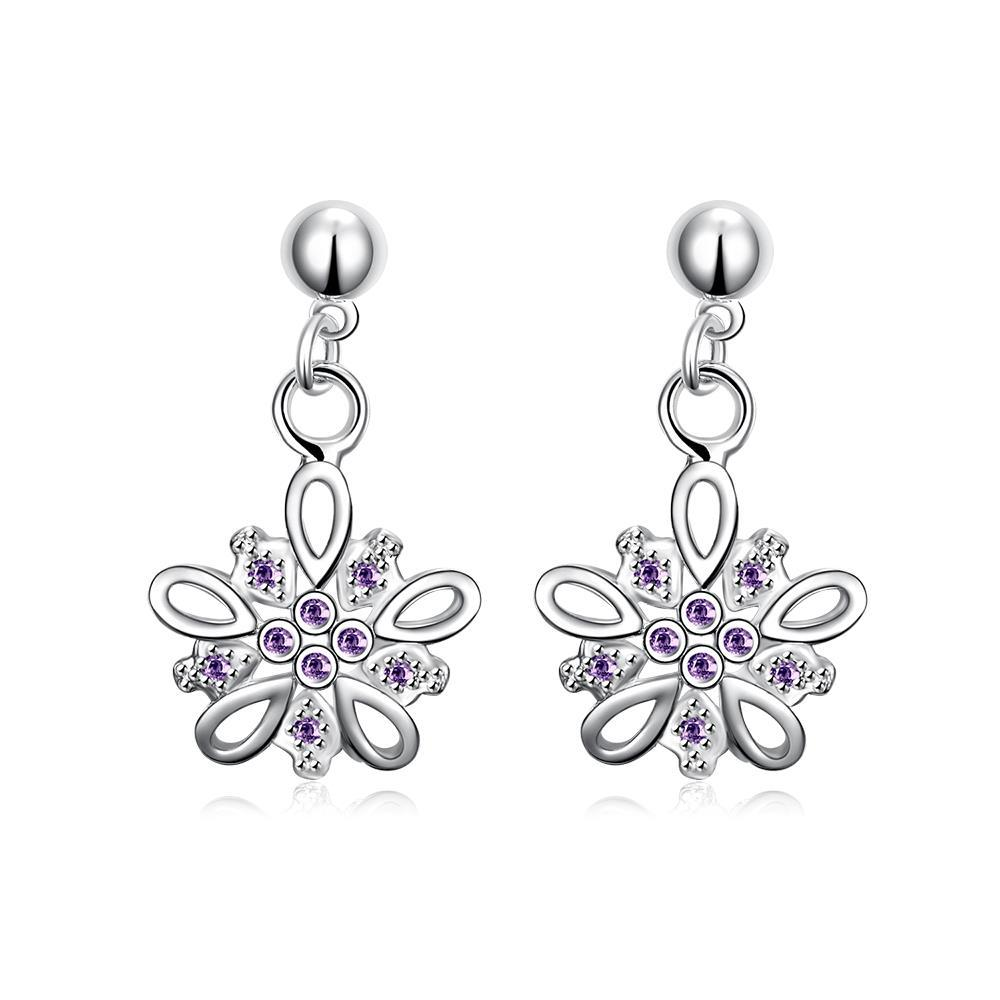Vienna Jewelry Purple Citrine Jewels Clover Drop Earrings - Thumbnail 0