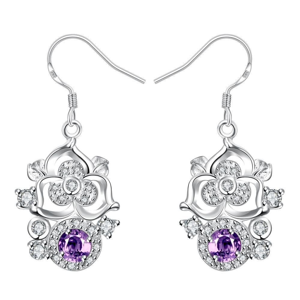 Vienna Jewelry Petite Purple Citrine Gem Blossoming Clover Drop Earrings