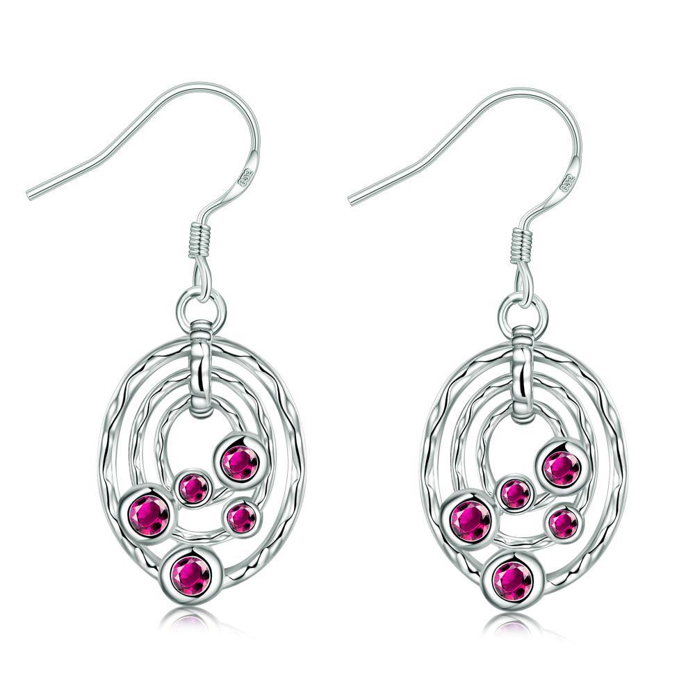 Vienna Jewelry Ruby Red Circular Pendant Drop Earrings