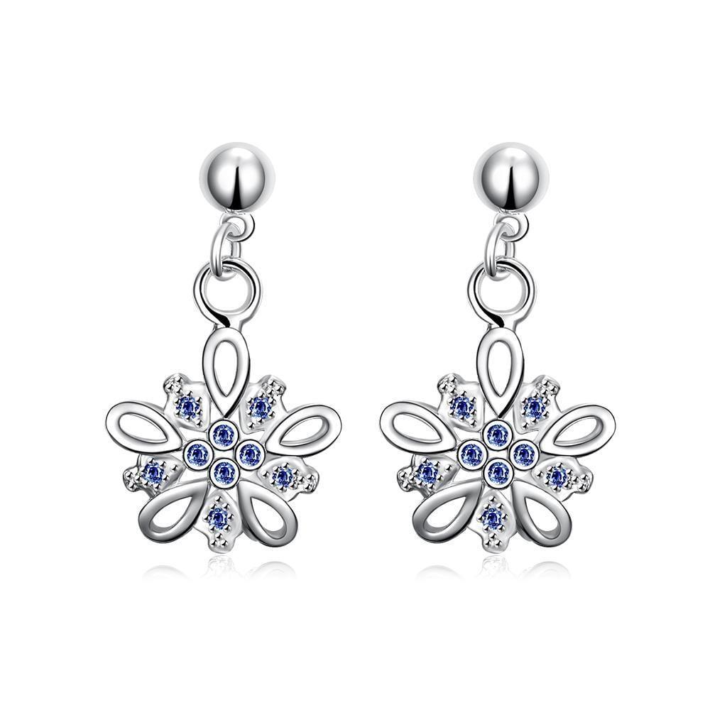 Vienna Jewelry Mock Sapphire Jewels Clover Drop Earrings