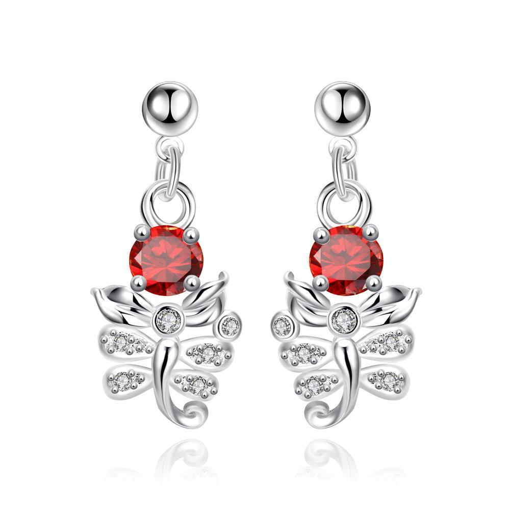 Vienna Jewelry Petite Ruby Red Orchid Drop Earrings