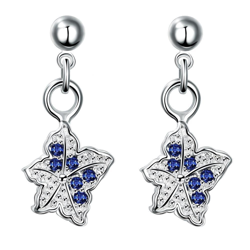 Vienna Jewelry Silver Tone Mock Sapphire Dangling Butterfly Earrings
