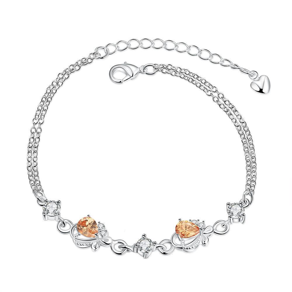 Vienna Jewelry Orange Citrine Diamond Shapped Petite Anklet