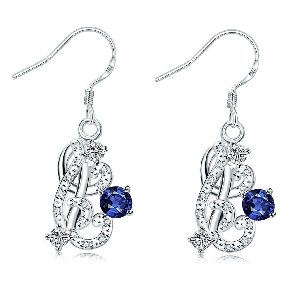 Vienna Jewelry Petite Mock Sapphire Swirl Emblem Drop Earrings