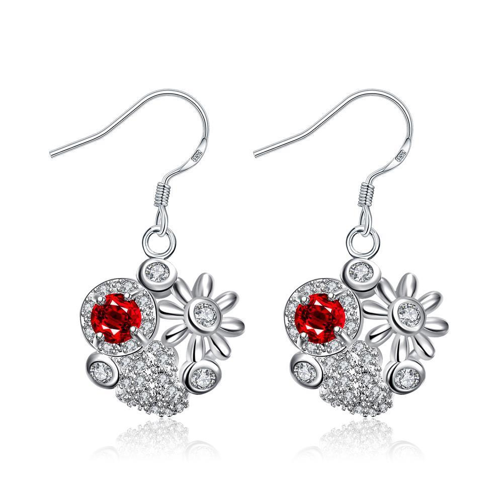 Vienna Jewelry Petite Ruby Red Blossoming Floral Drop Earrings - Thumbnail 0