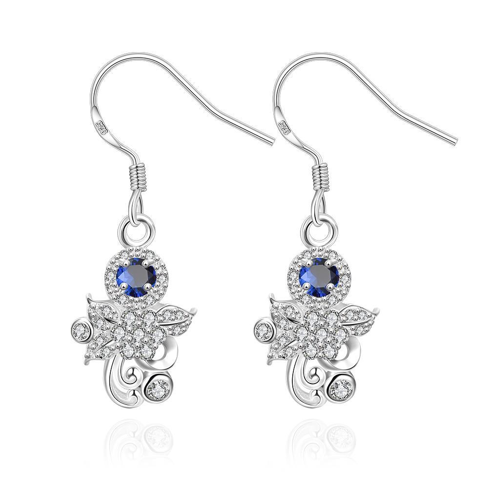 Vienna Jewelry Mock Sapphire Crystal Orchid Drop Earrings