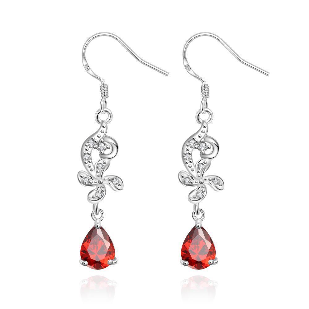 Vienna Jewelry Petite Ruby Red Gem Dangling Drop Earrings