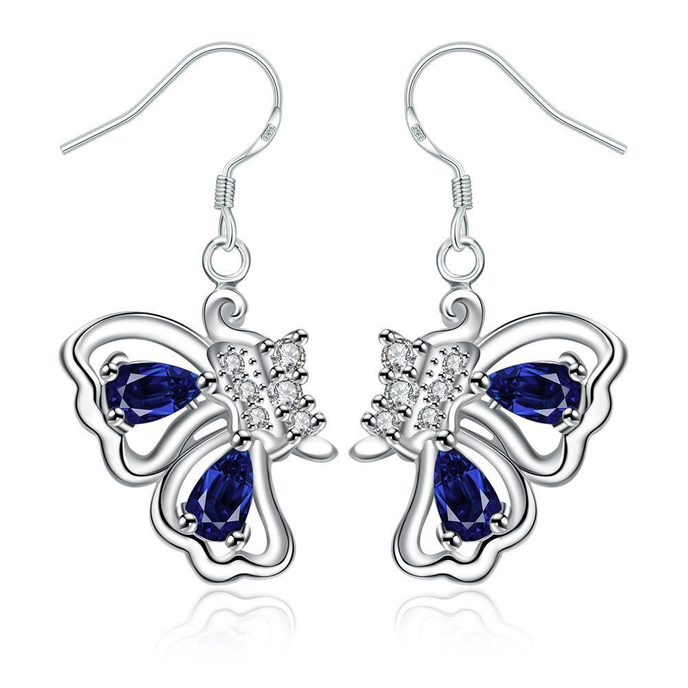 Vienna Jewelry Mock Sapphire Butterfly Wings Drop Earrings