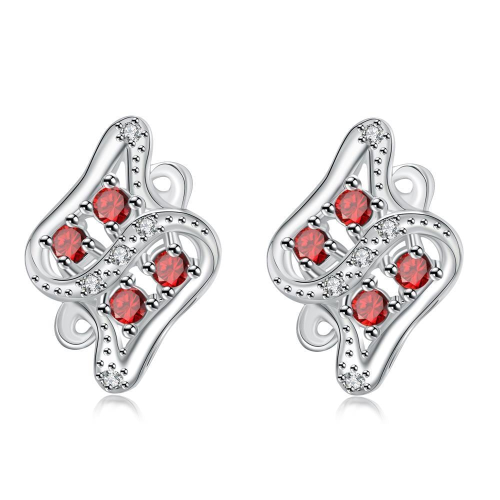 Vienna Jewelry Ruby Red Spiral Jewels Inlay Stud Earrings - Thumbnail 0