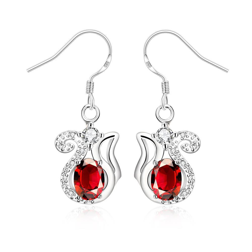 Vienna Jewelry Ruby Red Open Design Drop Earrings - Thumbnail 0