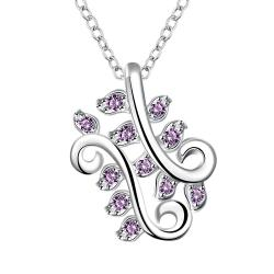 Vienna Jewelry Mock Purple Citrine Curved Floral Orchid Drop Necklace - Thumbnail 0