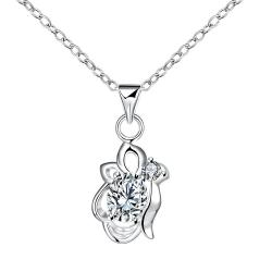Vienna Jewelry Crystal Stone Blossoming Floral Drop Necklace - Thumbnail 0