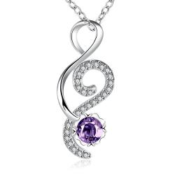 Vienna Jewelry Open Ended Heart Purple Citrine Drop Necklace - Thumbnail 0