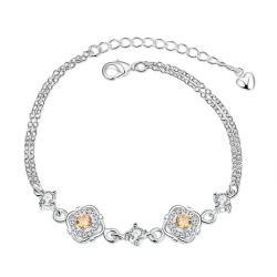 Vienna Jewelry Orange Citrine Jewels Covering Emblem Petite Anklet - Thumbnail 0