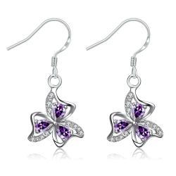 Vienna Jewelry Purple Citrine Trio-Floral Petals Drop Earrings - Thumbnail 0