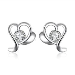Vienna Jewelry Silver Tone Angular Heart Shaped Stud Earrings - Thumbnail 0