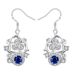 Vienna Jewelry Petite Sapphire Gem Blossoming Clover Drop Earrings - Thumbnail 0
