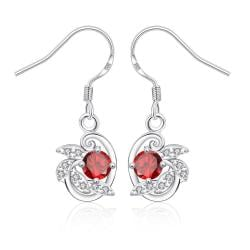 Vienna Jewelry Ruby Red Spiral Jewels Drop Earrings - Thumbnail 0