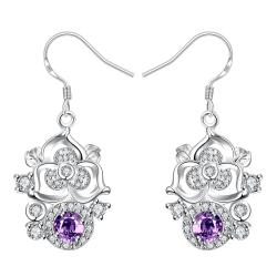 Vienna Jewelry Petite Purple Citrine Gem Blossoming Clover Drop Earrings - Thumbnail 0