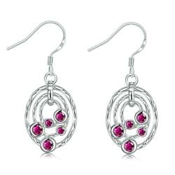 Vienna Jewelry Ruby Red Circular Pendant Drop Earrings - Thumbnail 0