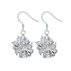 Vienna Jewelry Crystal Stone Floral Jewels Covering Drop Earrings - Thumbnail 0