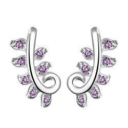 Vienna Jewelry Purple Citrine Swirl Tree Branch Dangling Earrings - Thumbnail 0