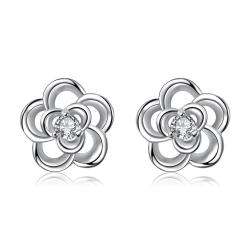 Vienna Jewelry Silver Tone Spiral Clover Stud Earrings - Thumbnail 0