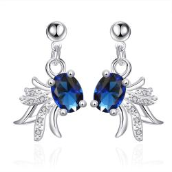 Vienna Jewelry Petite Mock Sapphire Spiral Blossoming Drop Earrings - Thumbnail 0