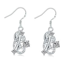 Vienna Jewelry Petite Crystal Stone Swirl Emblem Drop Earrings - Thumbnail 0