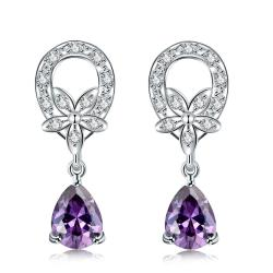 Vienna Jewelry Purple Citrine Spiral Emblem Drop Earrings - Thumbnail 0