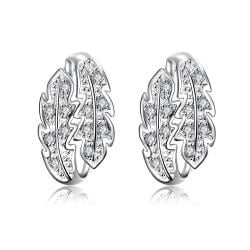 Vienna Jewelry Crystal Jewels Insert Floral Orchid Large Earrings - Thumbnail 0