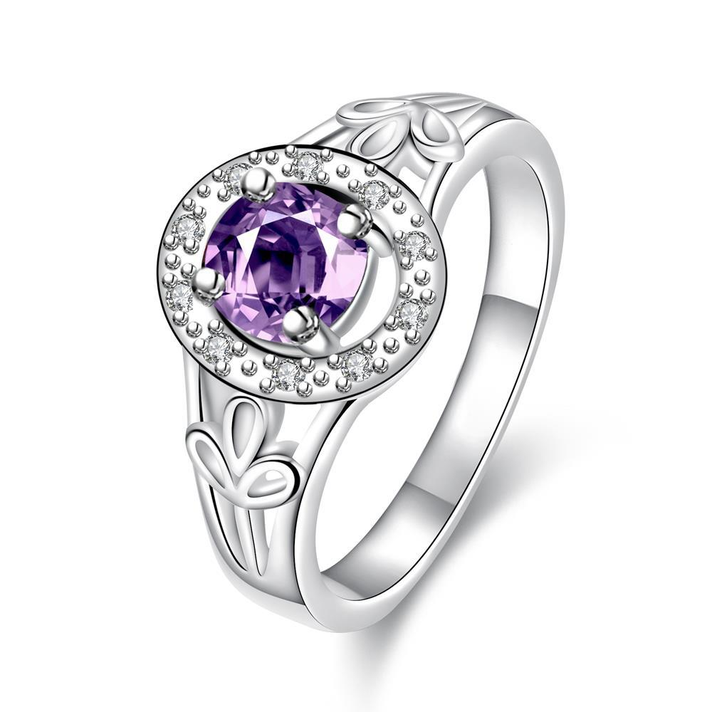Petite Purple Citrine Circular Emblem Ring Size 8