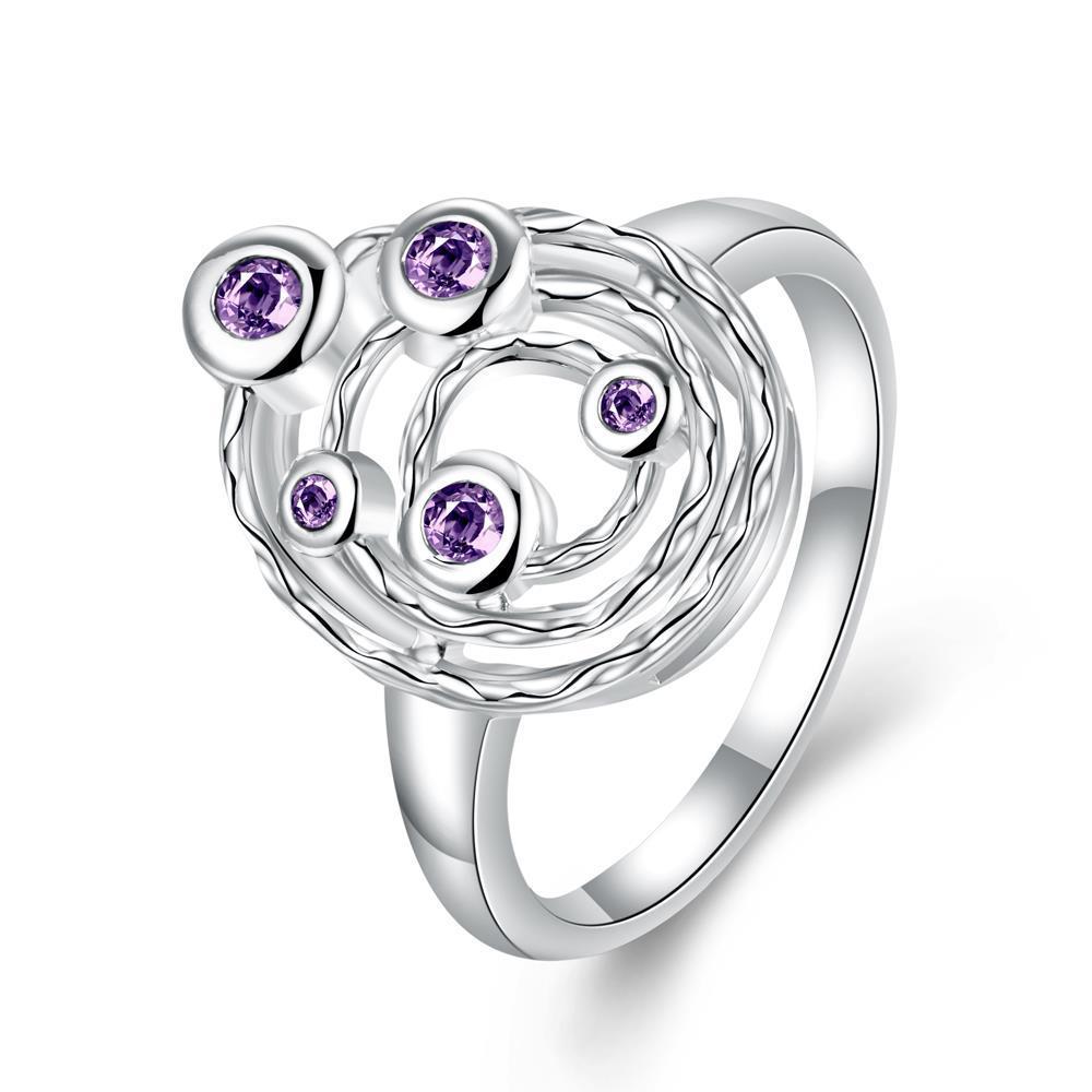 Vienna Jewelry Purple Citrine Petite Gems Swirl Emblem Ring Size 7