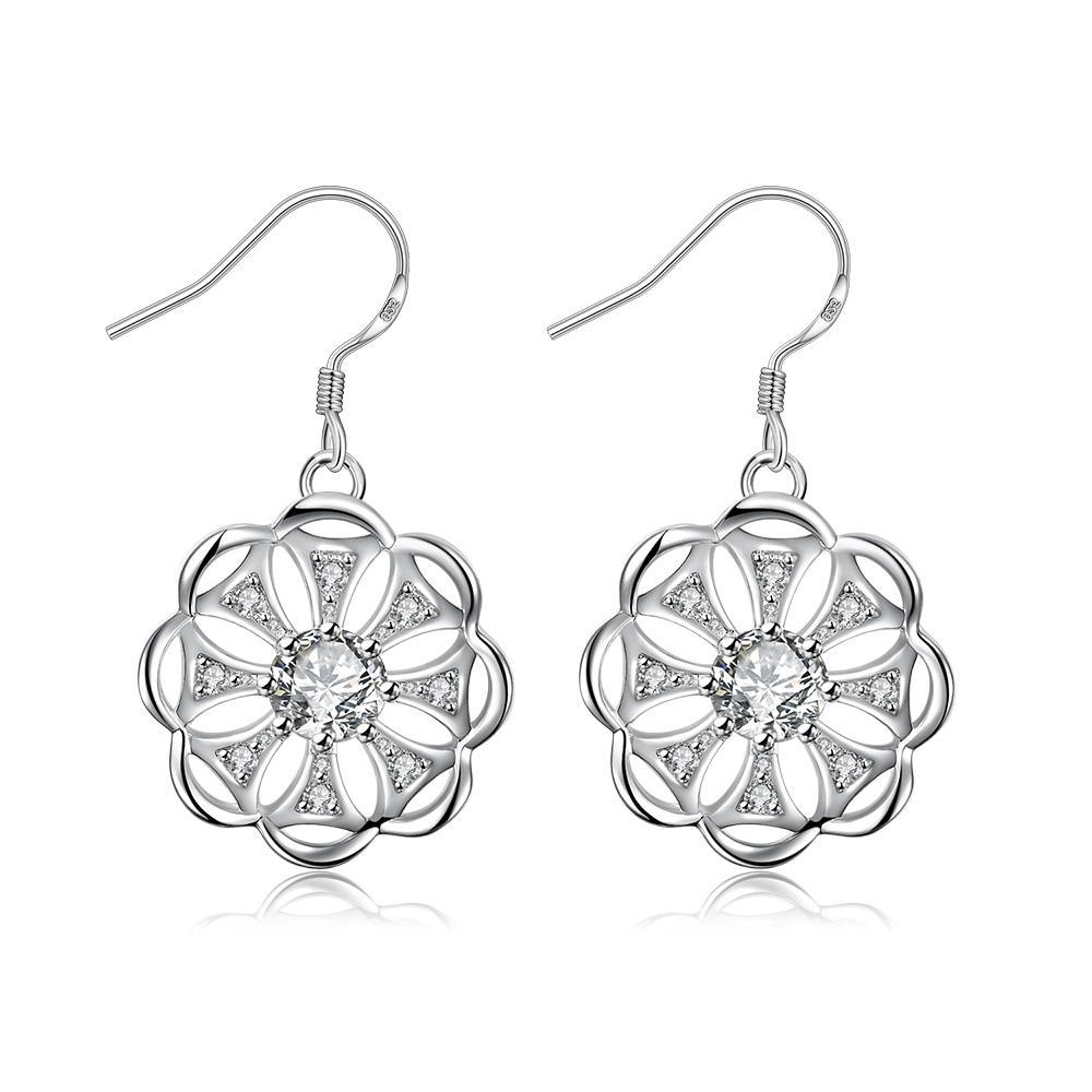 Vienna Jewelry Laser Cut Blossoming Clover Drop Earrings