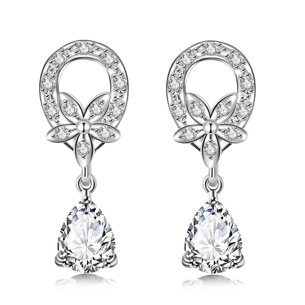 Vienna Jewelry Crystal Stone Spiral Emblem Drop Earrings