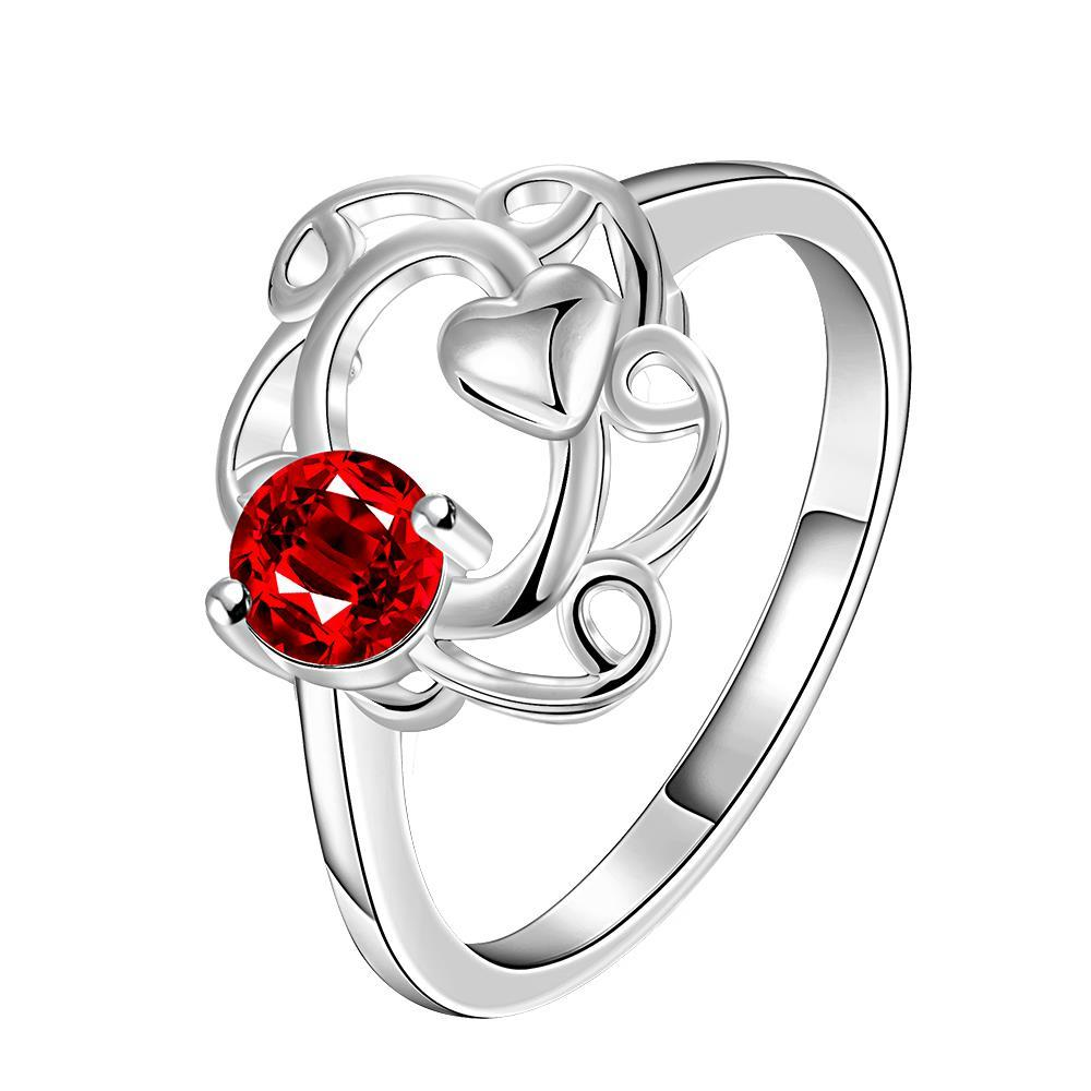 Vienna Jewelry Petite Ruby Red Spiral Curved Petite Ring Size 8