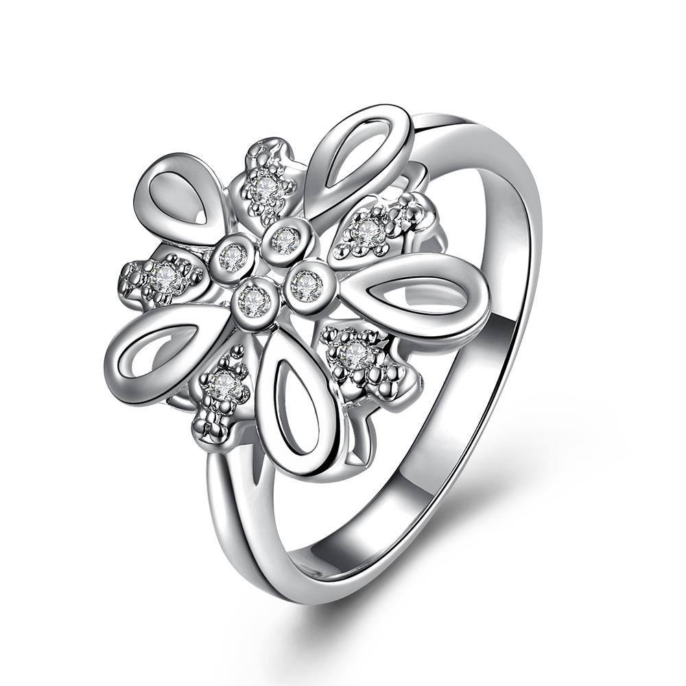 Vienna Jewelry Crystal Stone Blossoming Clover Petite Ring Size 8
