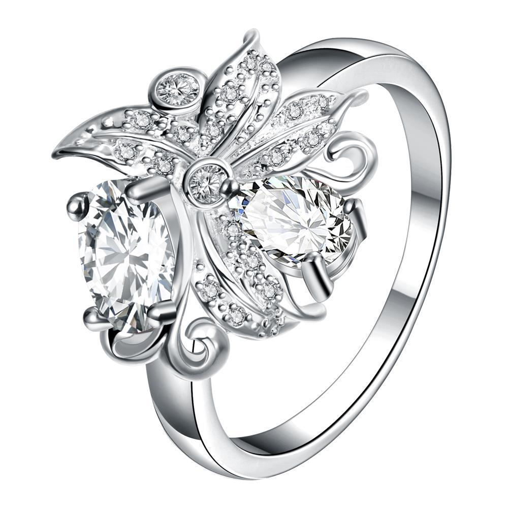 Petite Crystal Blossom Floral Modern Ring Size 8