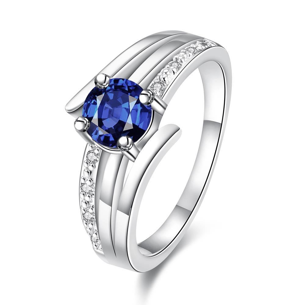 Vienna Jewelry Duo-Petite Classical 3 Later Sapphire Ring Size 7