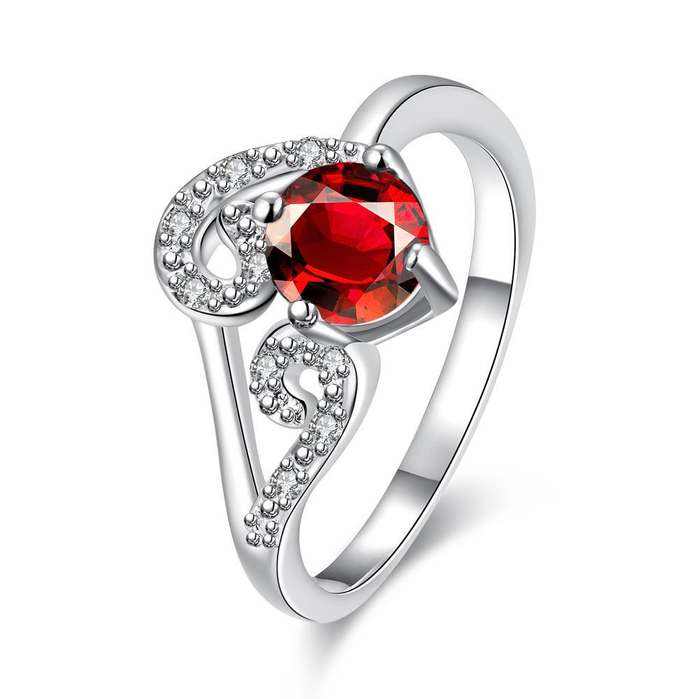 Vienna Jewelry Ruby Red Duo-Spiral Design Petite Ring Size 7