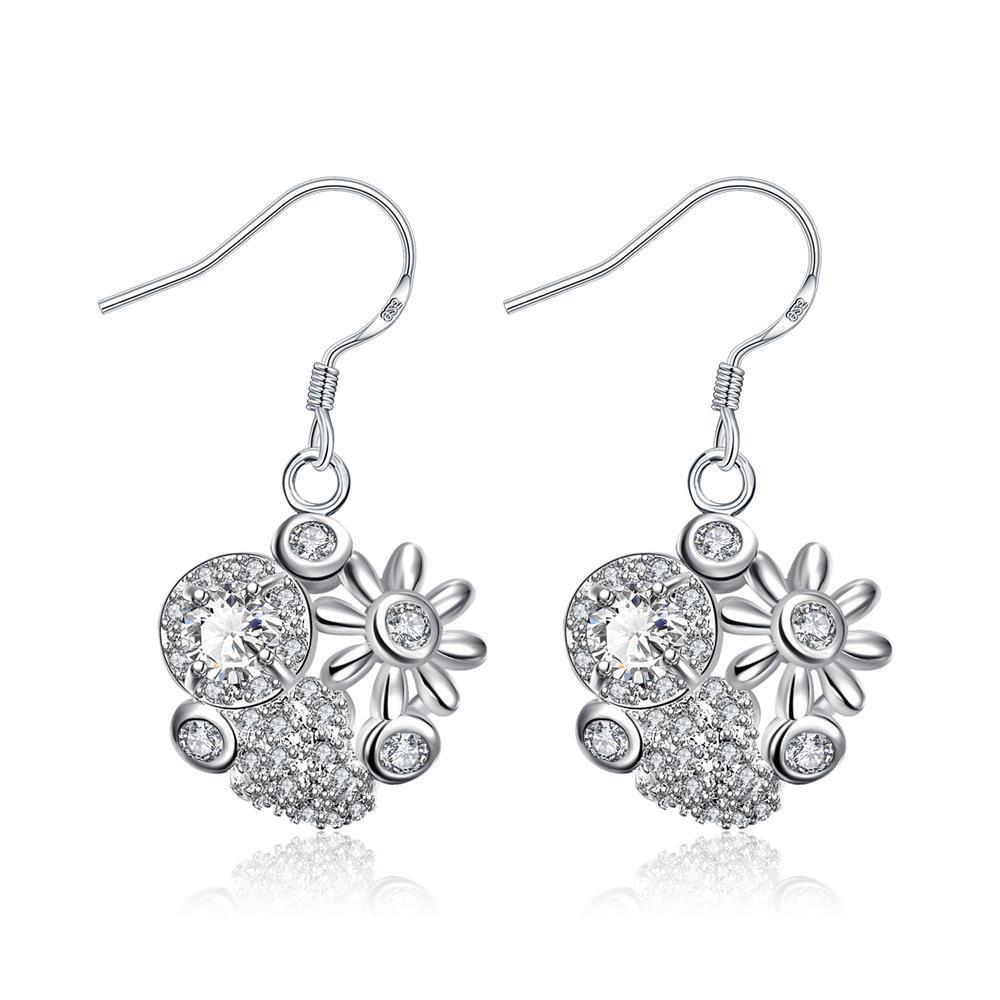 Vienna Jewelry Petite Crystal Stone Blossoming Floral Drop Earrings