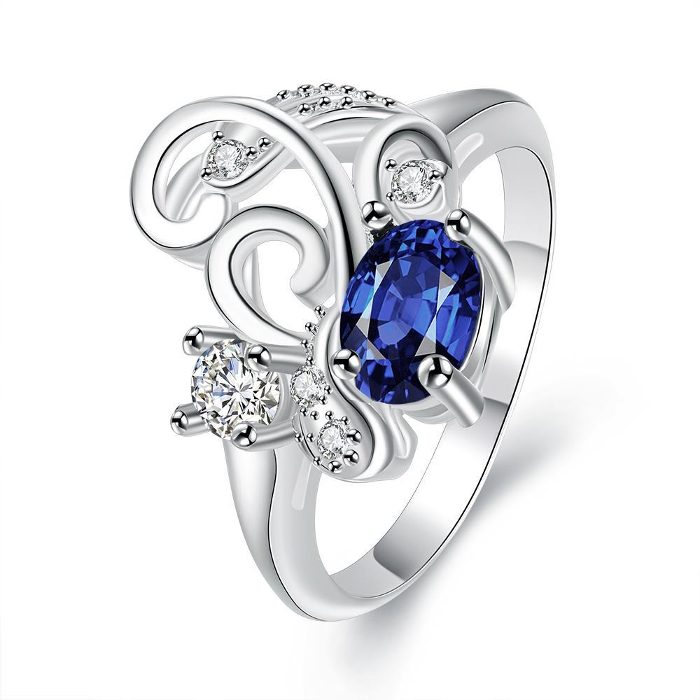 Vienna Jewelry Petite Mock Sapphire Swirl Design Petite Ring Size 8