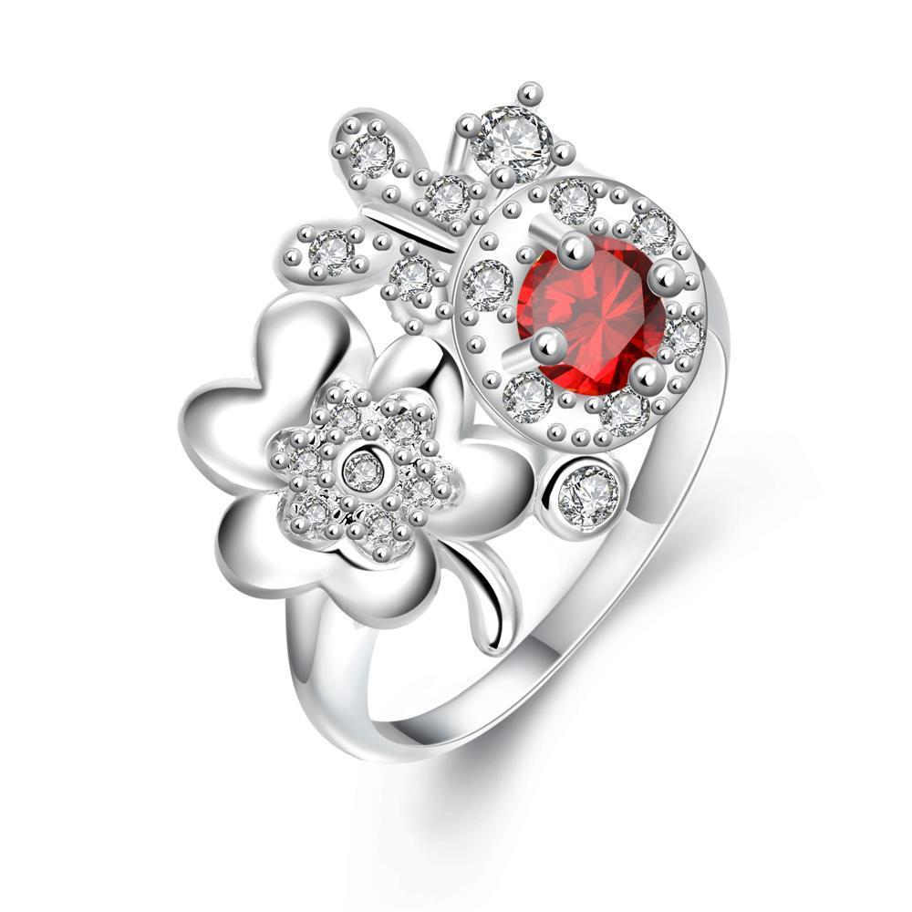 Vienna Jewelry Ruby Red Spiral & Clover Charms Petite Ring Size 8